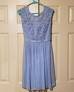 David's Bridal size 2 light blue lace formal dress